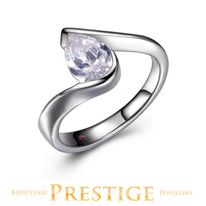 ELLE PROMISE BYPASS SOLITAIRE 9X6MM PEAR CUT RING