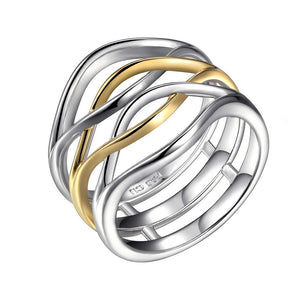 WAVE 2 TONE YEL GOLD WIDE WAVE RING