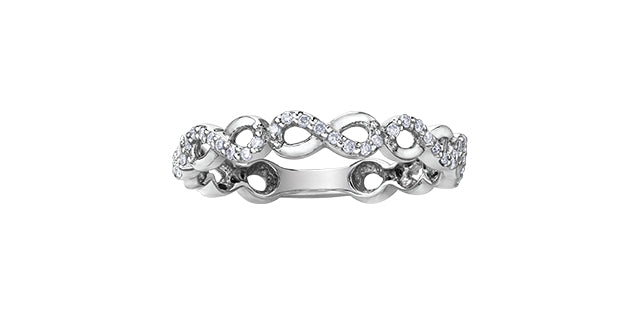 Ladies 10 Karat White Gold Diamond (0.15TDW) Infinity 3mm Stackable Ring