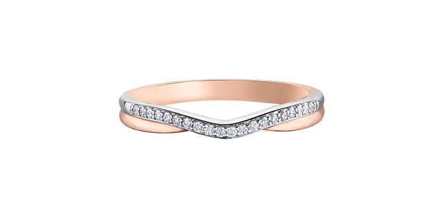 Ladies 10 Karat Rose & White Gold Diamond (0.10TDW) Curved Band 1.5-3mm Stackable Ring