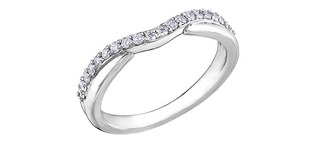 Ladies 10 Karat White Gold Diamond (0.10TDW) Curved Band 1.5-3mm Stackable Ring
