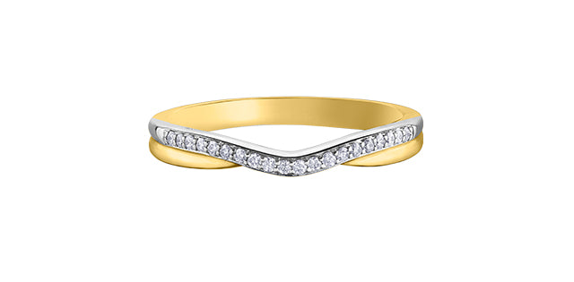 Ladies 10 Karat Yellow & White Gold Diamond (0.10TDW) Curved Band 1.5-3mm Stackable Ring
