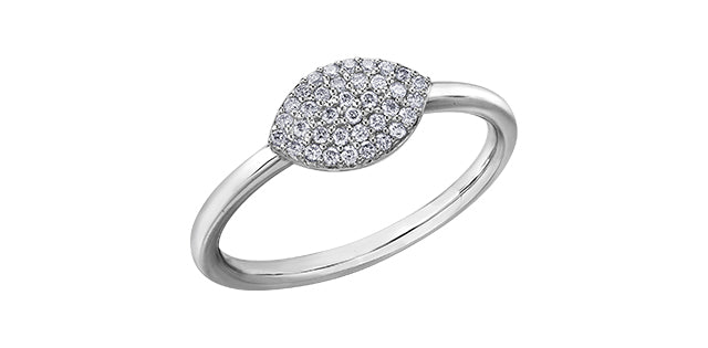 Ladies 10 Karat White Gold Diamond (0.15TDW) Stackable Ring