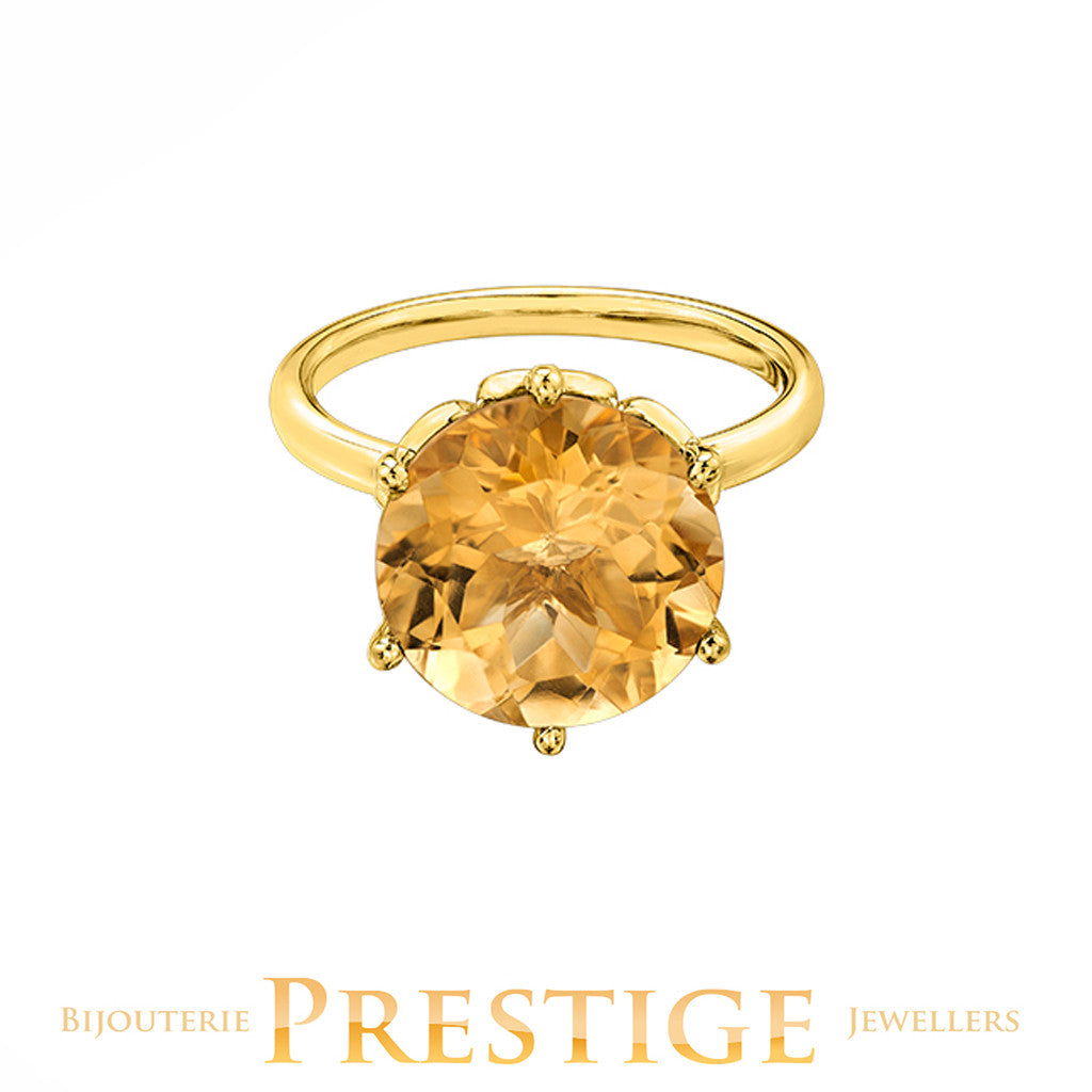 CITRINE 12MM ROUND YELLOW GOLD RING