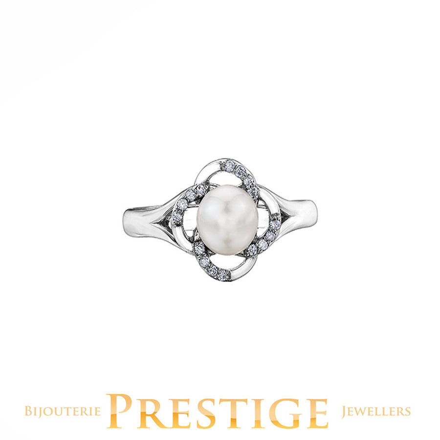 CULTURED PEARL RING 10KT WHITE GOLD
