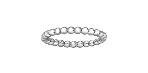 Ladies 10 Karat White Gold 2mm Stackable Beaded Ring