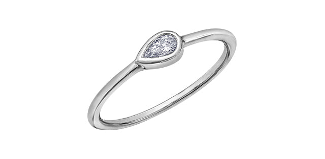 Ladies 10 Karat White Gold ChiChi Stackable Pear Shaped Diamond (TDW 0.10CT) Ring