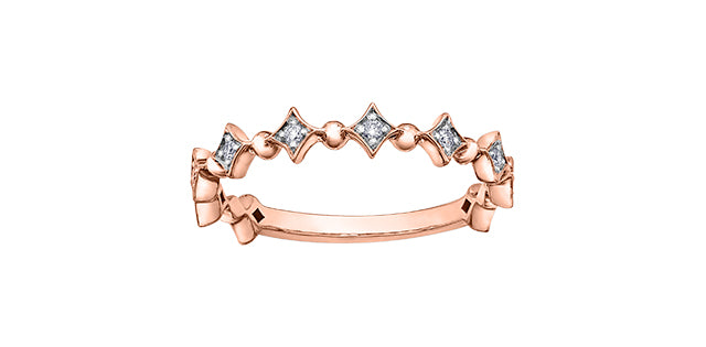Ladies 10 Karat Rose Gold ChiChi Stackable Diamond (TDW 0.08CT) 3.8mm Ring