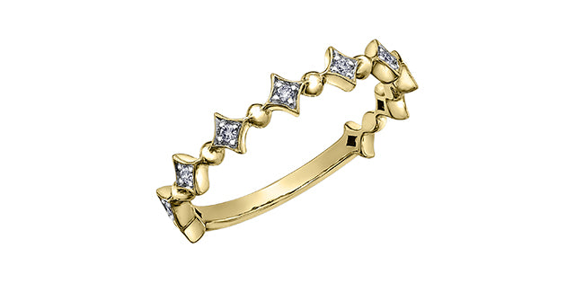 Ladies 10 Karat Yellow Gold ChiChi Stackable Diamond (TDW 0.08CT) 3.8mm Ring