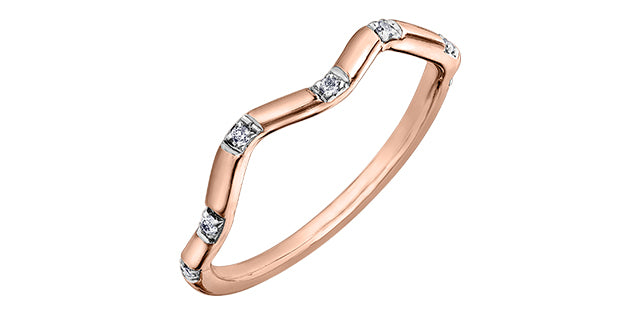 Ladies 10 Karat Rose Gold ChiChi Stackable Diamond (TDW 0.04CT) 1.8mm Ring