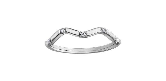 Ladies 10 Karat White Gold ChiChi Stackable Diamond (TDW 0.04CT) 1.8mm Ring