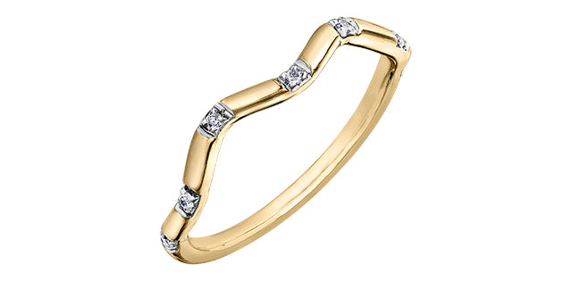 Ladies 10 Karat Yellow Gold ChiChi Stackable Diamond (TDW 0.04CT) 1.8mm Ring
