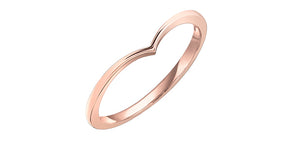 Ladies 10 Karat Rose Gold 1mm Stackable V Ring