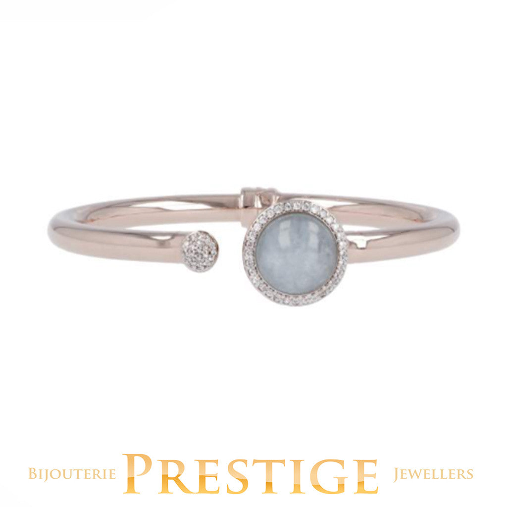 PREZIOSA GOLDEN ROSÉ AND AQUA CHALCEDONY BANGLE