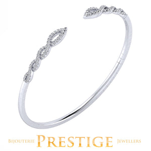 GABRIELNY 14KT WHITE GOLD DEMURE DIAMOND BANGLE