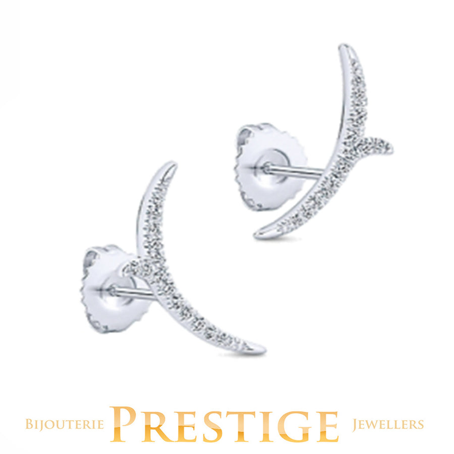 GABRIELNY DIAMOND COMET EARRINGS 14KT WHITE GOLD