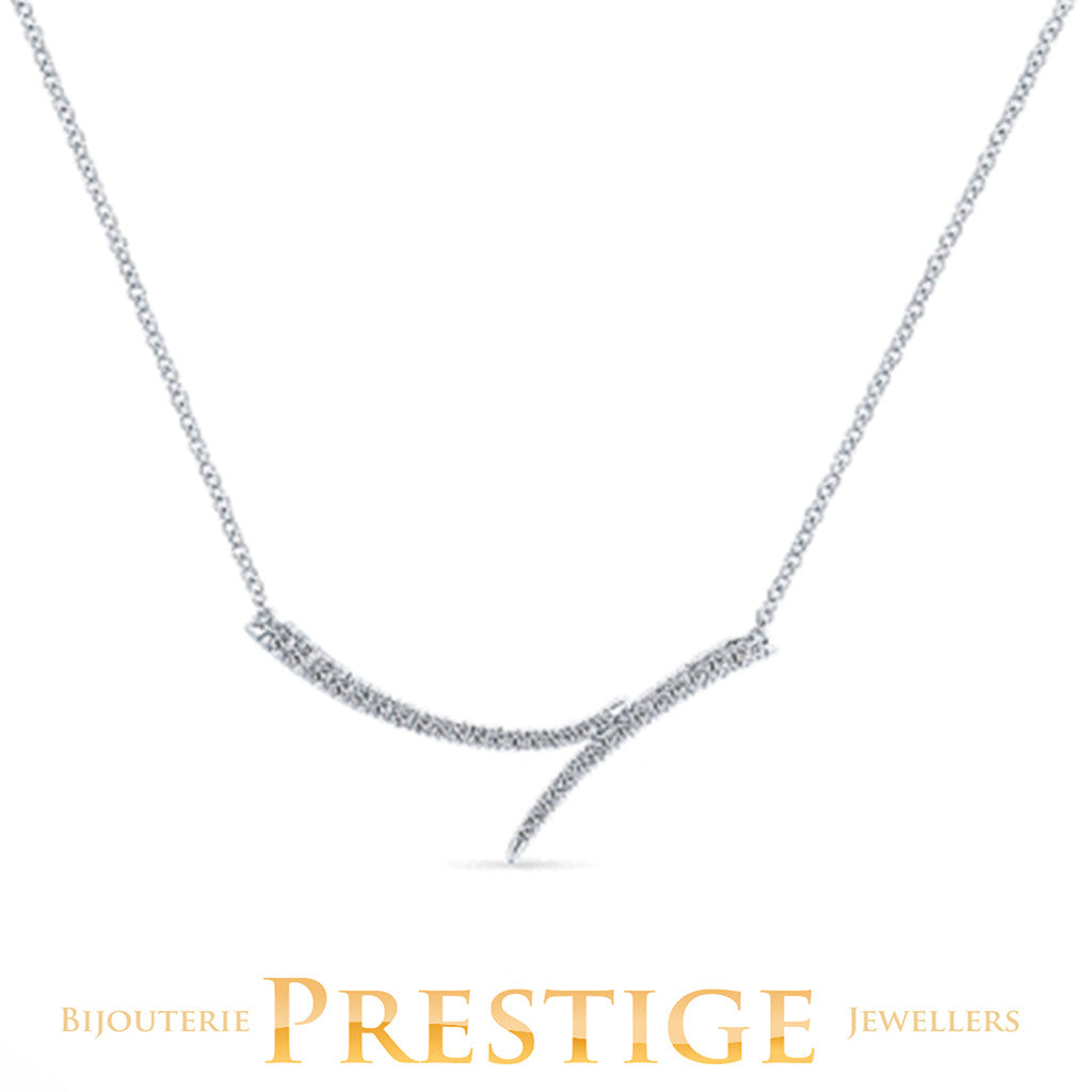 GABRIELNY DIAMOND INDULGENCE BAR NECKLACE 14KT WHITE GOLD