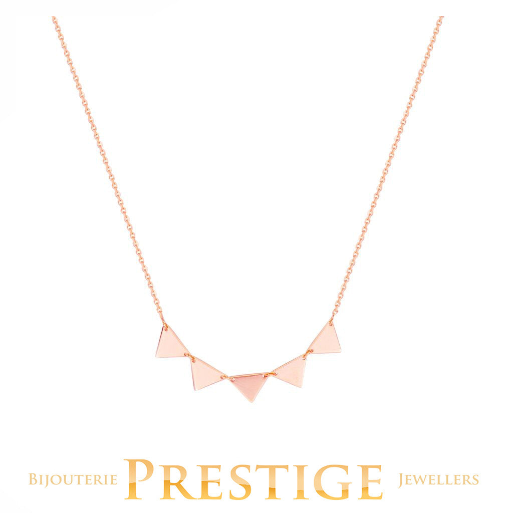 5 TRIANGLES CONNECTION NECKLACE 14KT ROSE GOLD 18""