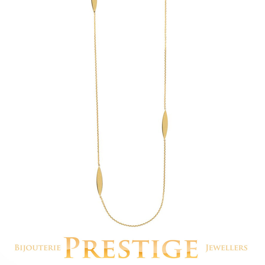 CABLE CHAIN WITH MARQUISE STATION NECKLACE 14KT YELLOW GOLD 36""
