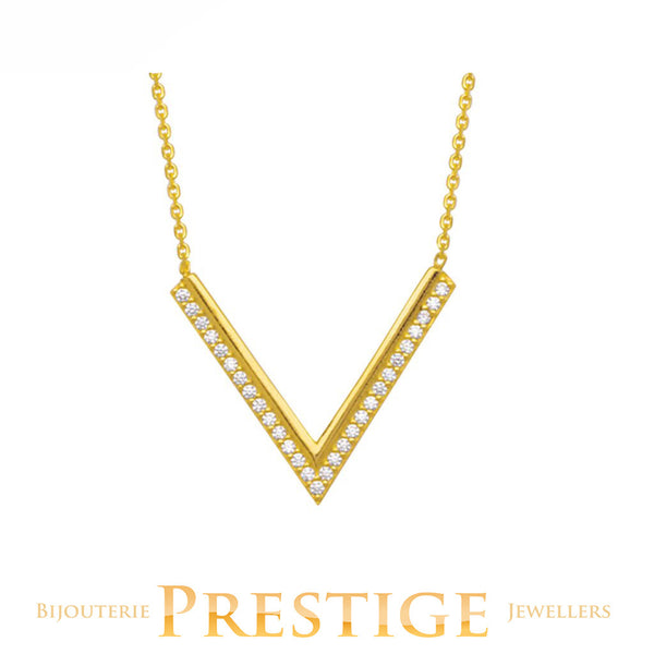 "CUBIC ZIRCONIA ""V"" NECKLACE 14KT YELLOW GOLD 18"""