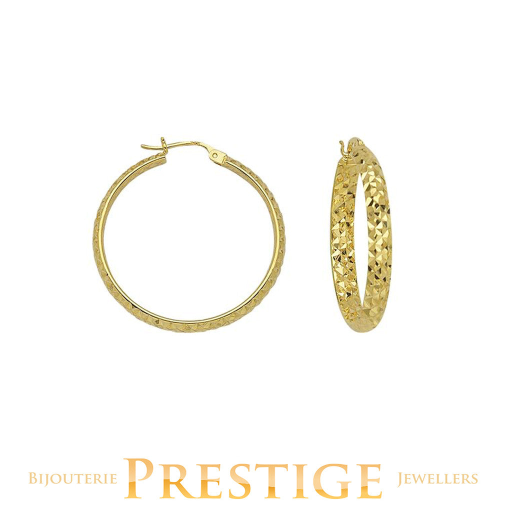 DIAMOND CUT ROUND HOOPS 3MM TUBE 30MM 10KT YELLOW GOLD