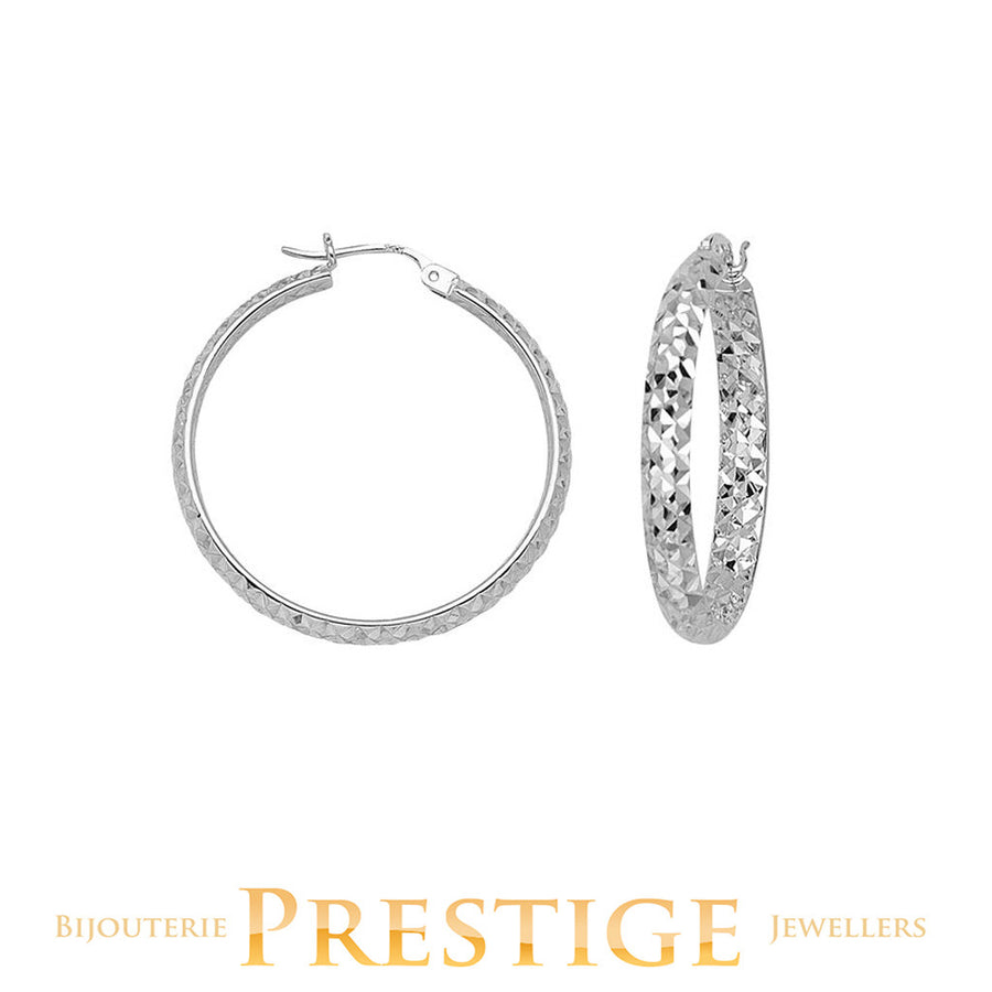 DIAMOND CUT ROUND HOOPS 3MM TUBE 40MM 10KT WHITE GOLD