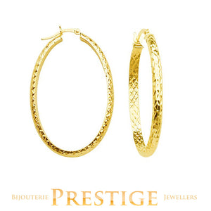 DIAMOND CUT OVAL HOOPS 3MM TUBE 22x32MM 10KT YELLOW GOLD