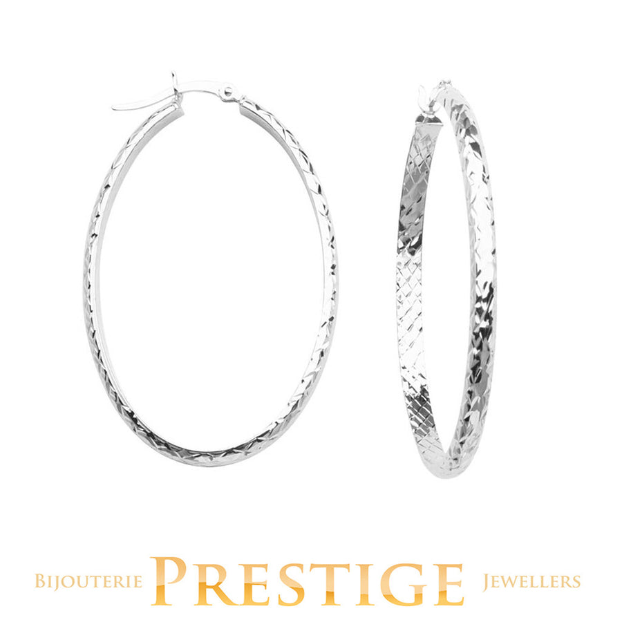 DIAMOND CUT OVAL HOOPS 3MM TUBE 28X42MM 10KT WHITE GOLD
