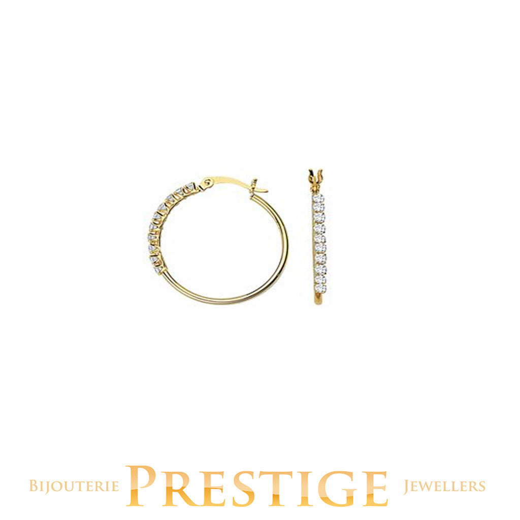 ROUND CZ HOOPS 1.5MM TUBE 20MM 10KT GOLD
