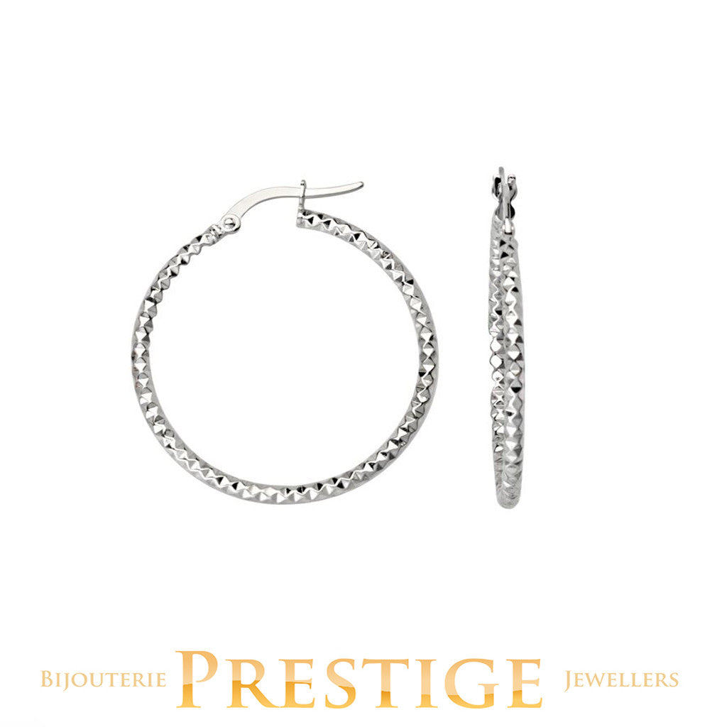 DIAMOND CUT ROUND HOOPS 25MM 10KT WHITE GOLD
