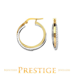INTERWOVEN SQUARE TUBE CZ ROUND HOOP 10KT YELLOW AND WHITE GOLD