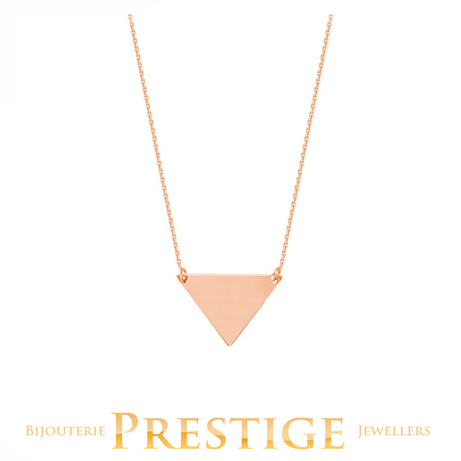 TRIANGLE NECKLACE 14KT ROSE GOLD 18""