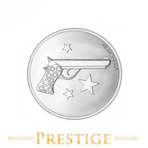 MI-MONEDA AIM HIGH & PISTOL PLATED REVERSIBLE COIN - MULTIPLE SIZES
