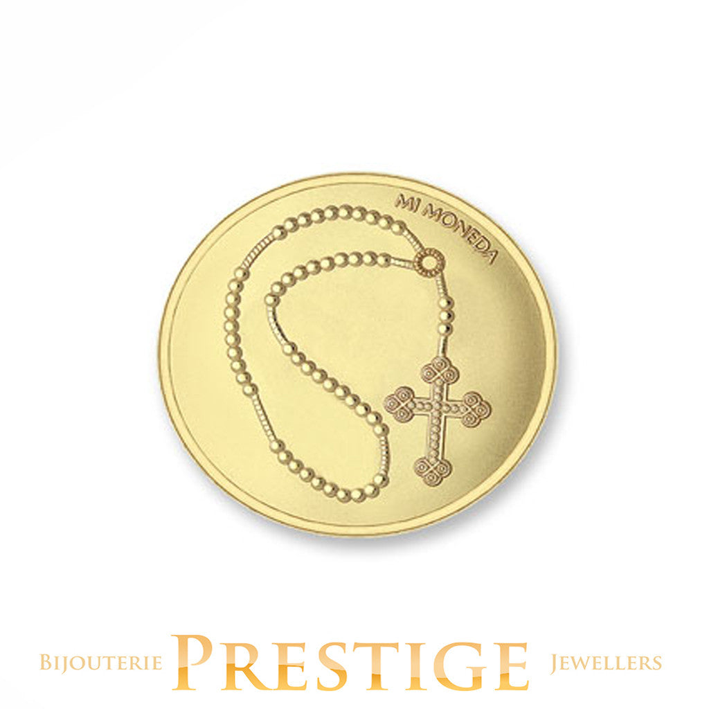 MI-MONEDA CROSS & ROSARY PLATED REVERSIBLE COIN - MULTIPLE SIZES