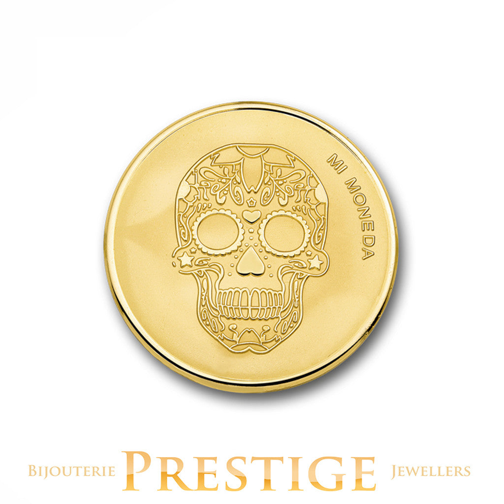 MI-MONEDA SKULL & FIRE PLATED REVERSIBLE COIN - MULTIPLE SIZES