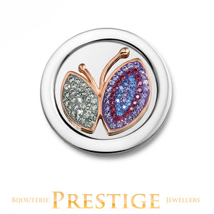 MI-MONEDA BUTTERFLY STAINLESS STEEL ONE SIDED COIN - LARGE