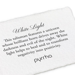 WHITE LIGHT PYRRHA TALISMAN NECKLACE
