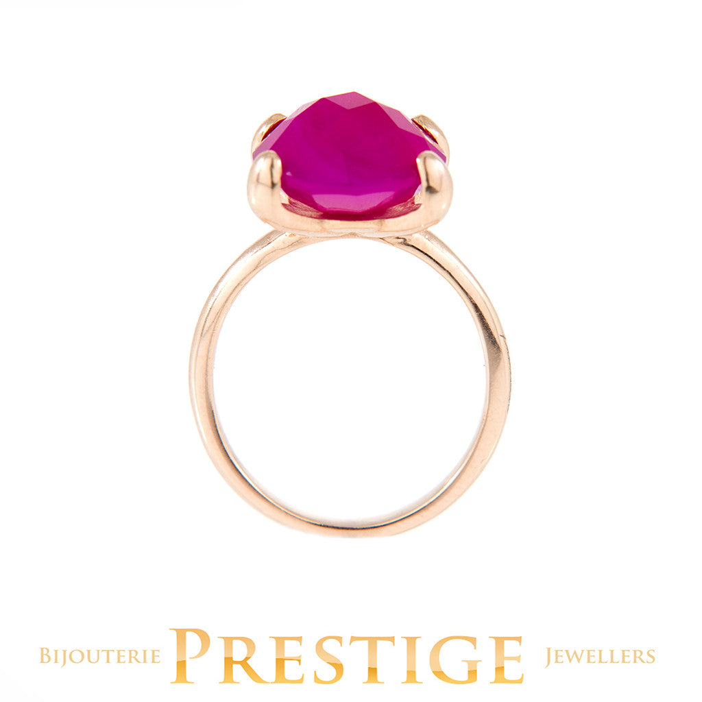 BRONZALLURE FELICIA COCKTAIL RING - FUSCHIA CHALCEDONY