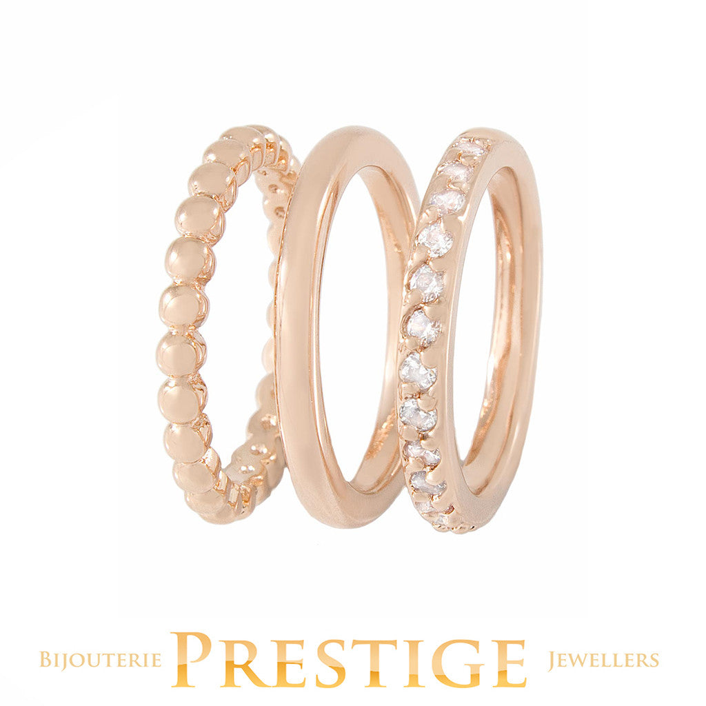 BRONZALLURE ALLURE CZ RING STACK - SET OF 3