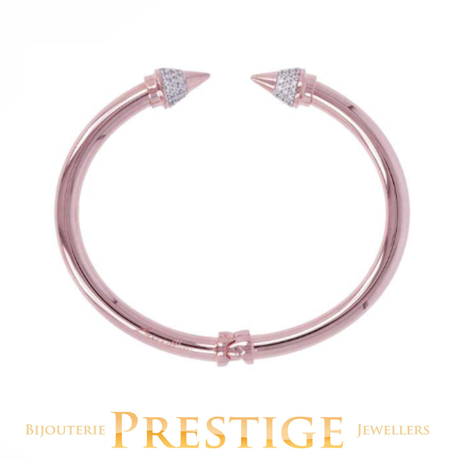 BRONZALLURE ROMANZE SHINY ARROW BANGLE - WHITE CZ