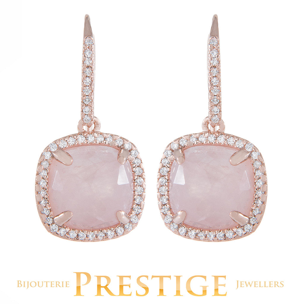 BRONZALLURE PREZIOSA MULTIFACETED SHINY EARRINGS - ROSE QUARTZ