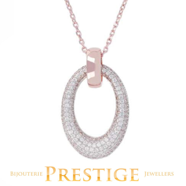 BRONZALLURE ALTISSIMA OVAL PAVE NECKLACE