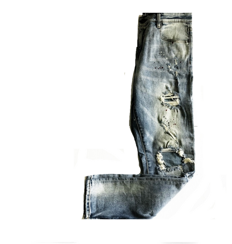 BLUE DISTRESSED SLIM FIT ZIPPED BOTTOM