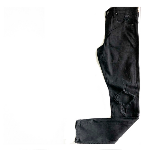 BLACK DISTRESSED SLIM FIT ZIPPED BOTTOM