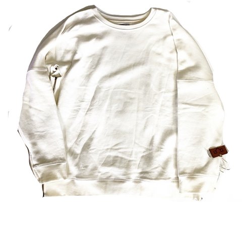 CREAM ZIPPED CREW NECK