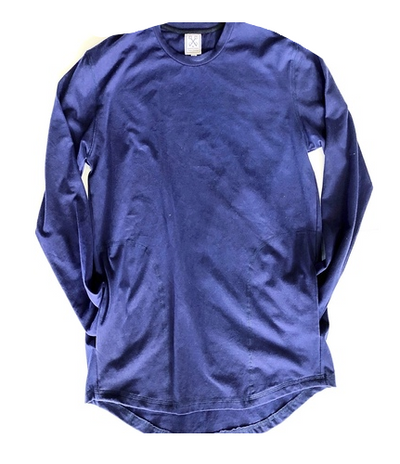 NAVY LONG SLEEVE CREW WITH POCKETS