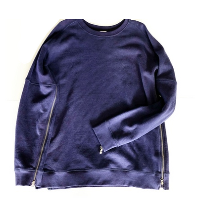 ZIPPED ALL AROUND CREW NECK NAVY