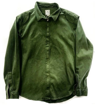 PUBLIC TREASURY GREEN BUTTON UP ZIPPED