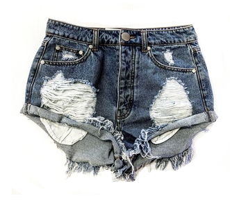 WHITE DISTRESSED JEAN SHORTS
