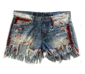 PAINTED JEAN SHORTS RED